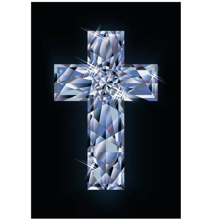 christian cross: Diamond cross banner, vector illustration Illustration