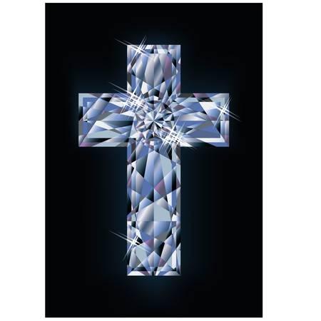 cruz religiosa: Diamond cruz bandera, ilustraci�n vectorial