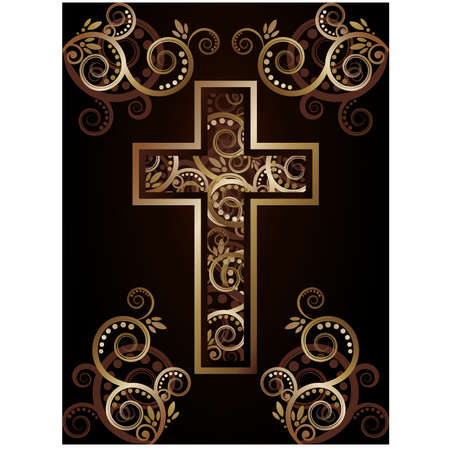 Christian cross silhouette with floral ornate, vector illustration Vector