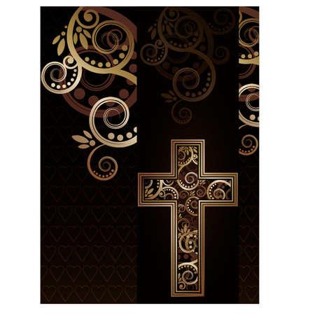 cruz religiosa: Cruz cristiana silueta, ilustración vectorial