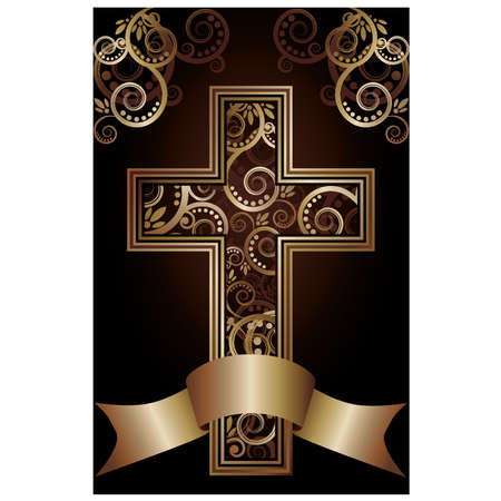 jesus cross: Christian cross card, vector illustration