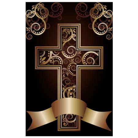 j�sus croix: Croix chr�tienne carte, illustration vectorielle Illustration