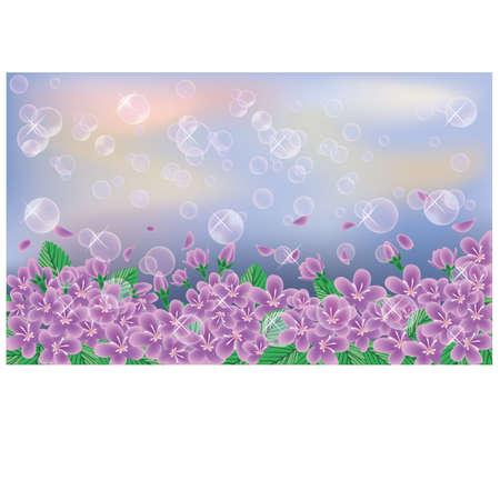 Spring banner  Cherry flowers on sky background, vector  Stock Vector - 17961908