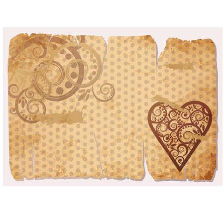 Vintage Old Paper Love card, illustration Vector