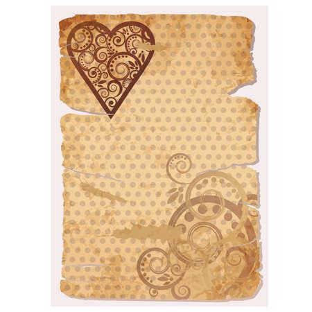 Vintage Old Paper Love banner,  illustration Vector