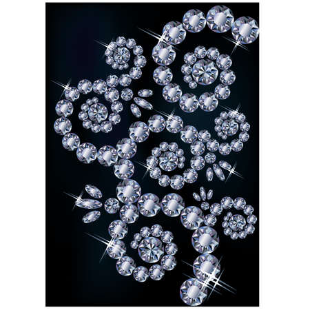 Diamond greeting floral card, vector illustration Stock Vector - 18141748