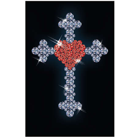 Diamond cross with ruby heart Stock Vector - 18156950