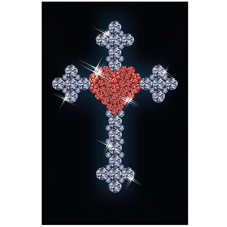 Diamond cross with ruby heart Stock Vector - 18156950