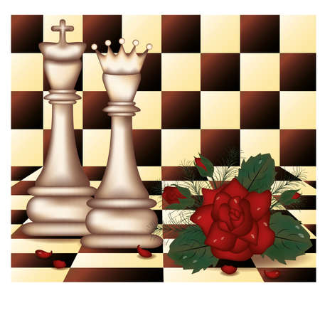 chess board: White Chess Queen and King with red rose  vector illustration