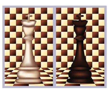 blanch: White and Black Chess King,  vector illustration