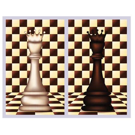 White and Black Chess Queen,  vector illustration  Ilustração