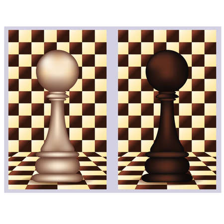 blanch: White and Black Chess Pawn,  vector illustration  Illustration