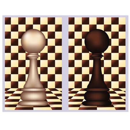 White and Black Chess Pawn,  vector illustration  Ilustração