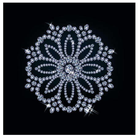 diamond jewelry: Diamante fiore, illustrazione vettoriale