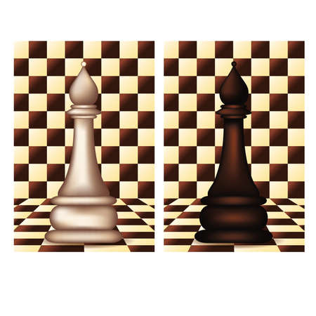 blanch: White and Black Chess Bishop, vector illustration