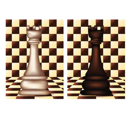 blanch: White and Black Chess Rook, vector illustration