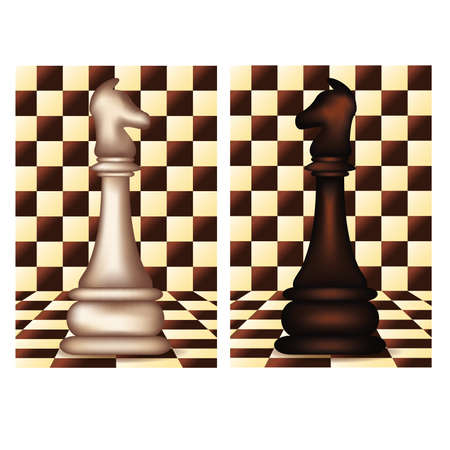 blanch: White and Black Chess Horse, vector illustration
