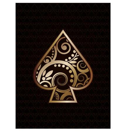 as de picas: Espadas del as del p�ker jugando a las cartas, ilustraci�n vectorial Vectores
