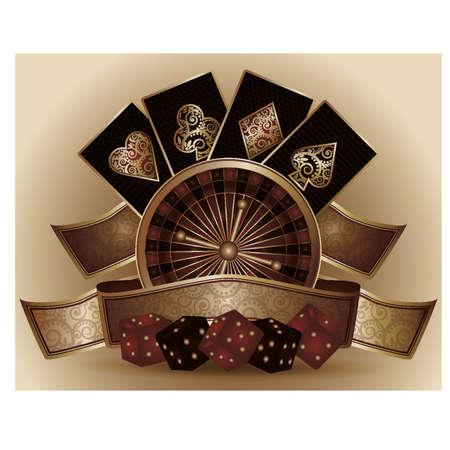 Vintage Casino card with poker elements ,  illustration Çizim