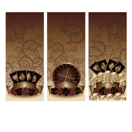 dices: Set vintage casino banners, vector illustration