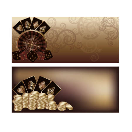 scrap gold: Two vintage casino banners, vector illustration