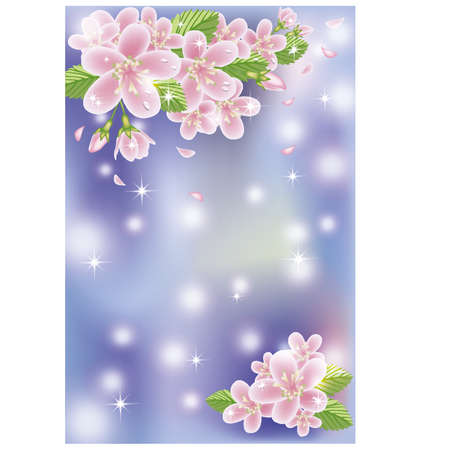 Spring sakura blossom banner, vector illustration Vector