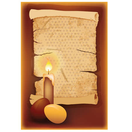 pasqua: Easter egg with candle and vintage old paper, vector illustration Illustration