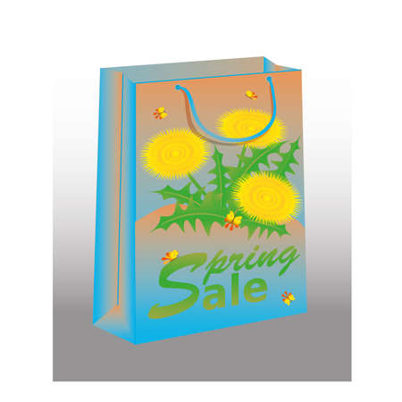 Spring Sale shopping bag with dandelion, illustration Stock Vector - 18616878