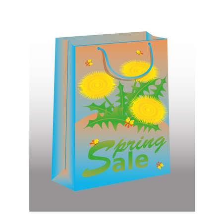 Spring Sale shopping bag with dandelion, illustration Stock Vector - 18616878