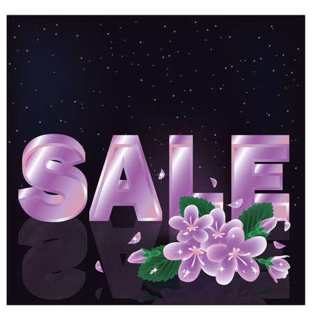 priced: Spring sale card,  illustration Illustration