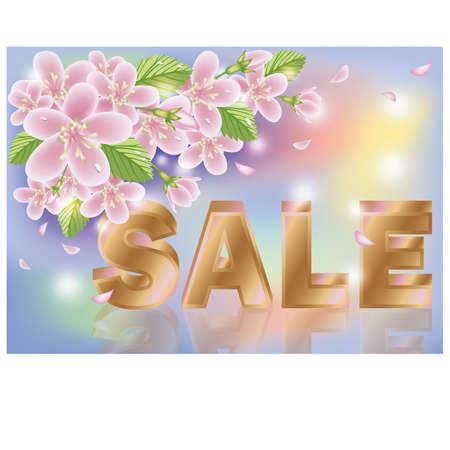 priced: Spring sale sakura background