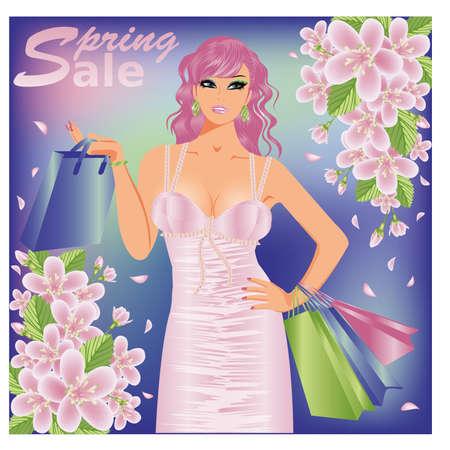 boutique shop: Spring sale shopping girl