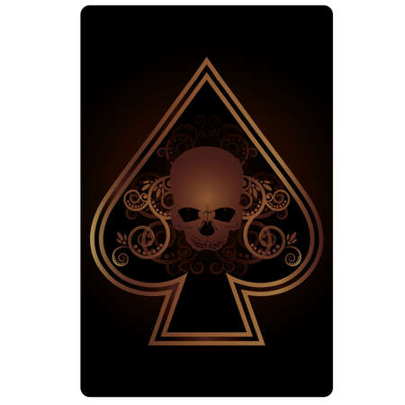 Poker Spades card with skulls,  vector illustration Vector