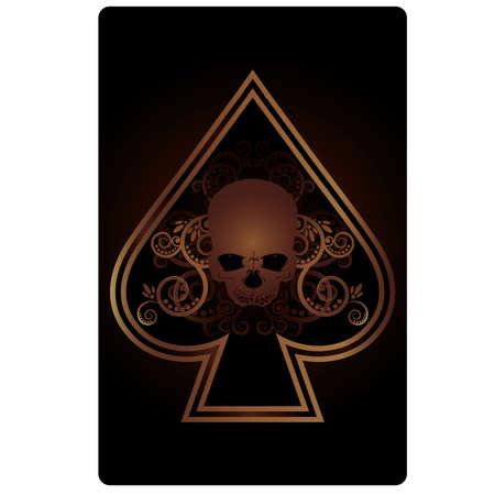 Poker Spades card with skulls,  vector illustration Stock Vector - 18775401