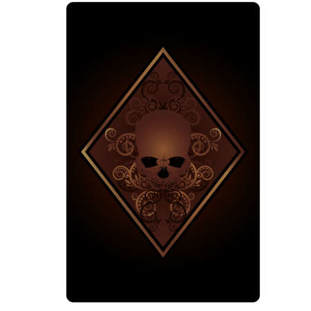Poker Diamonds card with skulls, vector illustration Stock Vector - 18775405