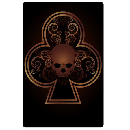 ace of clubs: Poker Clubs card with skulls,  vector illustration Illustration