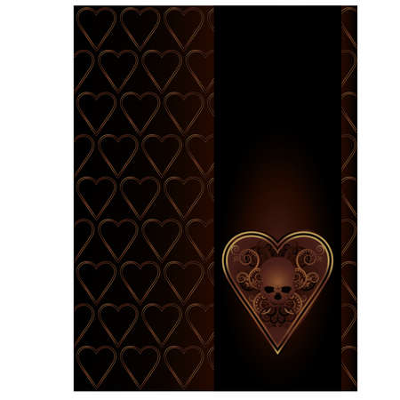 tarot: Poker Hearts card with skulls and floral ornate,  vector illustration