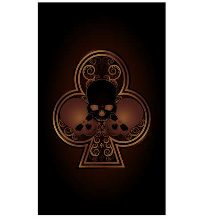 ace of clubs: Casino Poker Clubs card with skulls Illustration