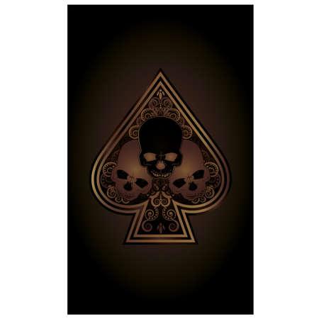 에이스: 두개골 카지노 포커 스페이드 카드 일러스트