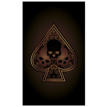 scrap gold: Casino Poker Spades card with skulls