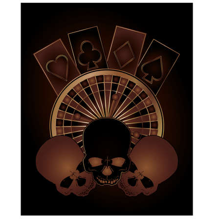Casino poker elements with skulls, vector illustration  Vector