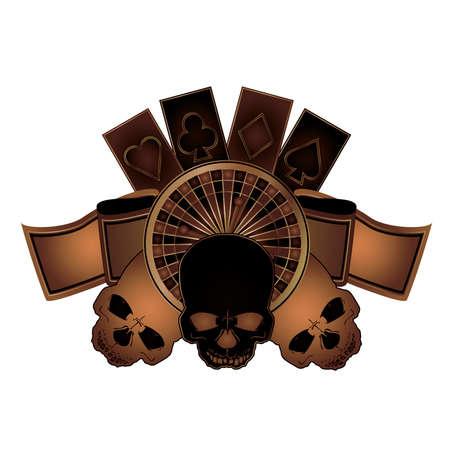 gambler: Casino poker elements with skulls isolated, vector illustration