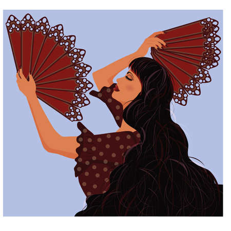 Spanish girl with two fans flamenco, illustration Vector