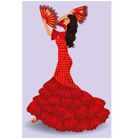 donna spagnola: Ballerina di flamenco spagnolo ragazza illustrazione Vettoriali