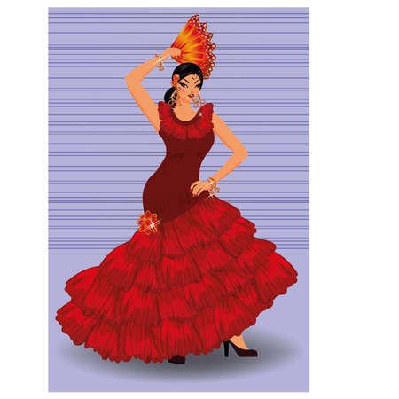 グラナダ: ファンの図とのスペインのフラメンコ ダンサーの女の子  イラスト・ベクター素材