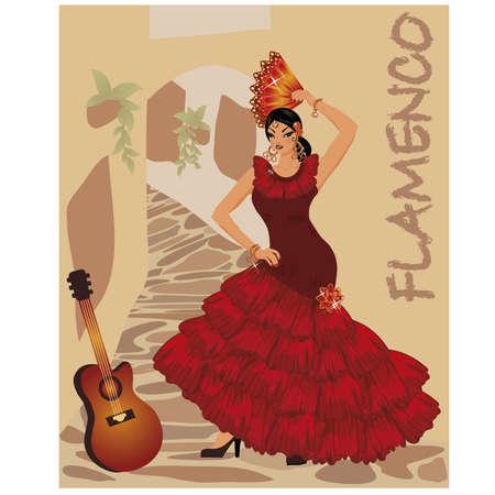 Flamenco danser meisje met ventilator en gitaar, illustratie