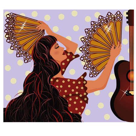 Flamenco Spaans meisje en gitaar, illustratie
