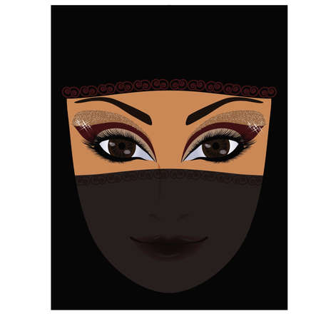 muslim fashion: Beautiful arabian woman, vector illustration