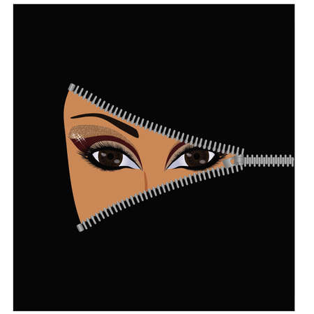 Open face muslim woman Vector