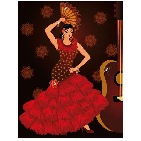 Flamenco spanish dancer girl and guitar, vector illustration